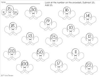 SNOW Math and Language Arts No Prep Printables