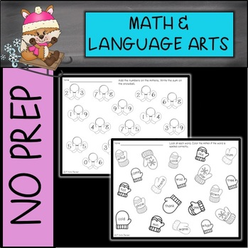 January/Winter SNOW Math and Language Arts No Prep Printables