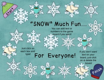 'SNOW' Much Fun!  Winter/Snow Game Board, Cards, Spinners & Pawns!