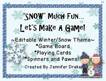 'SNOW' Much Fun!  Winter/Snow Game Board, Cards, Spinners