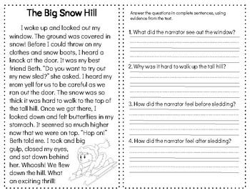SNOW Reading Comprehension Passages & Questions: Nonfiction and Fiction Sets
