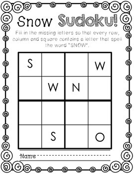 Freebie~ SNOW Sudoku
