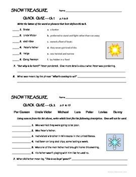 SNOW TREASURE Novel Study - Quick Quizzes and Activities