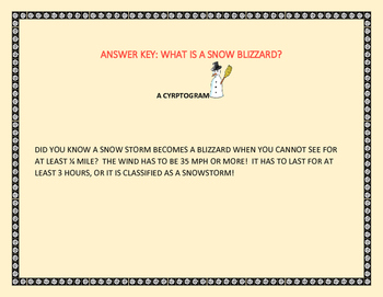 SNOW: WHAT IS A BLIZZARD? A FUN  CRYPTOGRAM