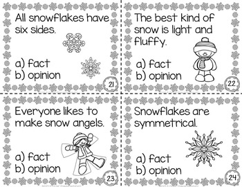 SNOW Fact and Opinion Task Cards