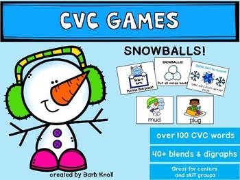 SNOWBALLS!  Sounding out words game:  CVC, CVCC, CCVC, CCVCC