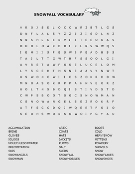 SNOWFALL VOCABULARY WORD SEARCH