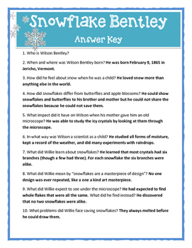 SNOWFLAKE BENTLEY by J.B. Martin - Comprehension & Text Evidence