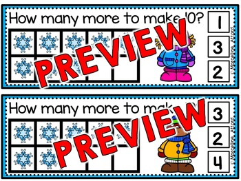 WINTER MATH ACTIVITIES: SNOWFLAKES MAKE TEN CLIP CARDS: WINTER MATH CENTER