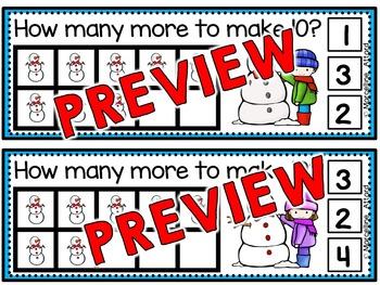SNOWMAN MATH CLIP CARDS: MAKING TEN: WINTER MATH CENTER