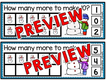 WINTER ACTIVITIES KINDERGARTEN (SNOWMAN MATH CENTER) MAKING 10 TO ADD
