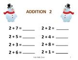 SNOWMAN ADDITION WORKSHEETS B (12 Worksheets) CHRISTMAS HOLIDAY