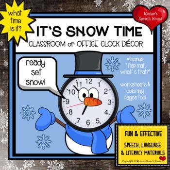 SNOWMAN CLOCK ROOM DECOR WINTER Speech Therapy classroom teacher