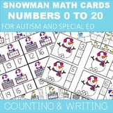 SNOWMAN COUNTING WRITING AND IDENTIFYING NUMBERS 1-20 FOR AUTISM