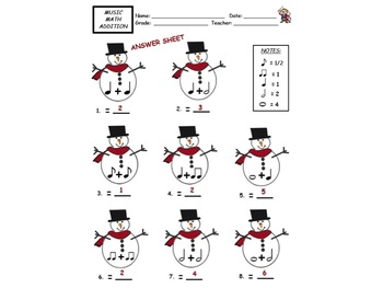 SNOWMAN- MUSIC NOTE VALUE MATH- Great for Subs & Assessment!  w Answer Key!