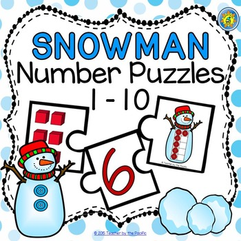 SNOWMAN Math Number Puzzles 1 – 10 ~ Base 10 Blocks and Te