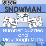 SNOWMAN Math Number Puzzles and Number / Playdough Mats - Numbers to 10