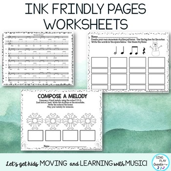 "Orff and Kodaly Song: ""Snowman, Snowman"" Lesson, Worksheets, Mp3 Tracks"