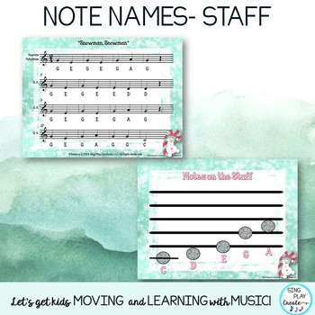 "Music Lesson: Winter Orff & Kodaly, ""Snowman, Snowman"" Worksheets, Mp3 Tracks"