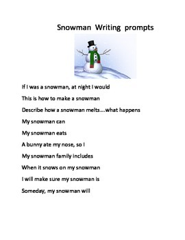 SNOWMAN WRITING PROMPTS