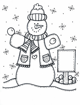 SNOWMAN with sign and snowballs