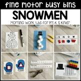SNOWMEN Fine Motor Busy Bins (winter morning work tubs) - Preschool, Pre-K