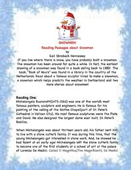 SNOWMEN! Four Reading Comprehension Passages