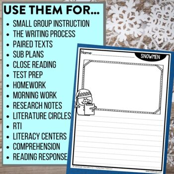SNOWMEN | Graphic Organizers for Reading | Reading Graphic Organizers