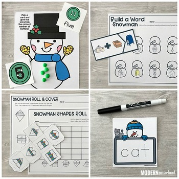 SNOWMEN Literacy & Math Centers for Winter (Preschool, PreK, Kindergarten)