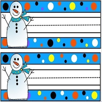 Snowmen Desk Plates Name Tags and Word Wall Cards
