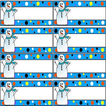 Snowmen Flash Cards and Desk Plates