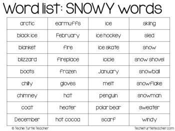 SNOWY - Winter Words Bingo Game
