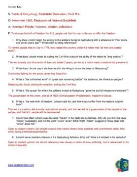 Gettysburg Address Analysis Worksheet SOAP