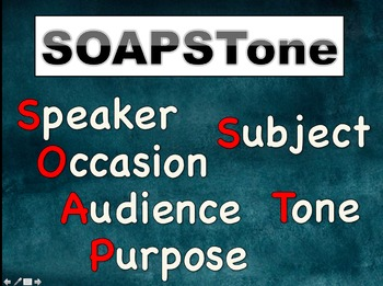 SOAPSTONE Posters & Powerpoint; AP Lang and Comp, Pre-AP English; Annotation