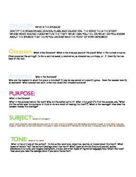 SOAPSTone Anchor Chart