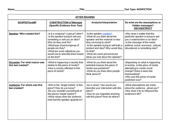 SOAPSTone Deconstruction Chart for Any Nonfiction Text