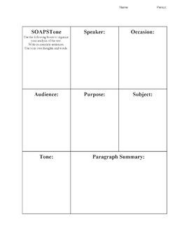 SOAPSTone Graphic Organizer (9-12)
