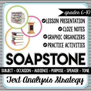 SOAPSTone Text Analysis Strategy - Lesson, Activities, and Graphic Organizers