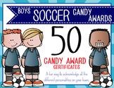 SOCCER - boys - Candy Award Certificates - editable MS Power Point