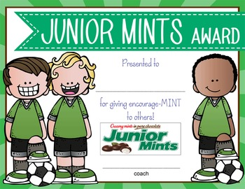 SOCCER - boys - Candy Award Certificates - editable MS Power Point