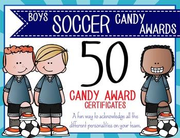 SOCCER - boys - Candy Award Certificates - editable MS Pow