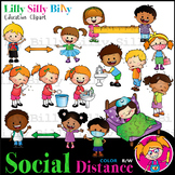 SOCIAL DISTANCE - B/W & Color clipart, {Lilly Silly Billy}