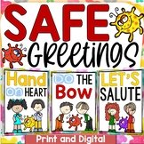 SOCIAL DISTANCE GREETINGS (COVID 19) SAFETY POSTERS PRINT