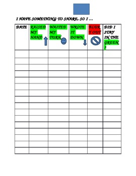 SOCIAL EMOTIONAL STANDARDS-Self- Monitoring Chart for BLURT OUTS!