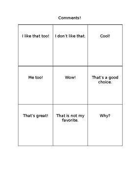SOCIAL SKILLS: Initiating Conversation and Commenting Tic-Tac-Toe (editable)