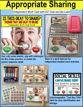 "SOCIAL SKILLS Task Cards APPROPRIATE SHARING ""Task Box Filler"" for Middle/H.S."
