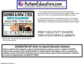 "SOCIAL SKILLS Task Cards SOUNDS and HOW THEY MAKE ME FEEL ""Task Box Filler"""
