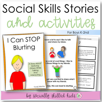 SOCIAL STORY I Can Stop Blurting! BUNDLE {1 For Girls K-2nd & 1 For Boys K-2nd}