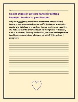 SOCIAL STUDIES/CIVICS/CHARACTER WRITING PROMPT: SERVICE