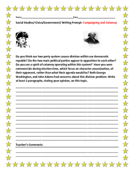SOCIAL STUDIES/CIVICS/GOVERNMENT/ WRITING PROMPT: CAMPAIGNING AND CALUMNY